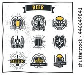 set of vintage beer badge logo... | Shutterstock .eps vector #446649841