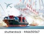 container cargo ship and cargo... | Shutterstock . vector #446650567