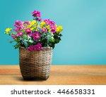 basket flowers blossom on table.... | Shutterstock . vector #446658331