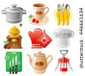 icon set with cooking utensil... | Shutterstock .eps vector #446661634