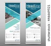 blue roll up business brochure... | Shutterstock .eps vector #446669521