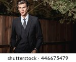elegant handsome man in... | Shutterstock . vector #446675479