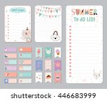 cute calendar daily and weekly... | Shutterstock .eps vector #446683999