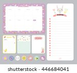 cute calendar daily and weekly... | Shutterstock .eps vector #446684041