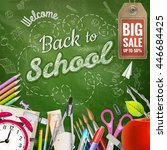 back to school sale background. ... | Shutterstock .eps vector #446684425