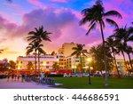 miami beach south beach sunset...   Shutterstock . vector #446686591