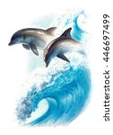 color drawing  two dolphins on... | Shutterstock . vector #446697499