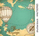vintage vector map with sailing ... | Shutterstock .eps vector #446700985