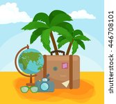 traveling bag suitcase trip or... | Shutterstock .eps vector #446708101