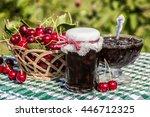 cherry jam jar on background of ... | Shutterstock . vector #446712325