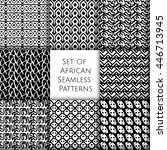 set of seamless patterns with... | Shutterstock .eps vector #446713945