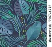 seamless jungle leaf pattern on ...   Shutterstock . vector #446716339