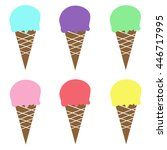colorful ice cream cone pink... | Shutterstock .eps vector #446717995