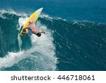 a surfer executes a radical... | Shutterstock . vector #446718061