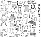 women clothes and accessories.... | Shutterstock .eps vector #446728054