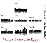 set of 7 city silhouette in... | Shutterstock .eps vector #446741311