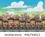 cartoon vector city sky with...