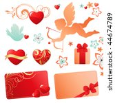 valentines set with cupid. | Shutterstock .eps vector #44674789