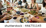 buffet dining food celebration... | Shutterstock . vector #446751145