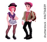 fashion young characters.... | Shutterstock .eps vector #446756839