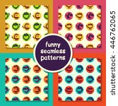 seamless pattern with monsters... | Shutterstock .eps vector #446762065