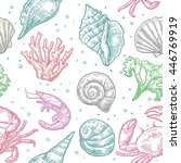 seamless pattern sea shell ... | Shutterstock .eps vector #446769919