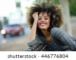 young black woman with afro... | Shutterstock . vector #446776804