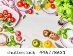 variety on colorful tomatoes... | Shutterstock . vector #446778631