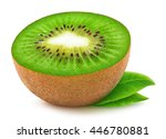 isolated kiwi. half of kiwi... | Shutterstock . vector #446780881