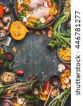 chicken breast with pumpkin  ... | Shutterstock . vector #446781277