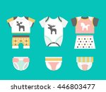 Vector baby clothes. Baby t-shirt, shorts, panties, diapers bodysuit flat template isolated on white background. Vector newborn apparel.