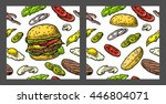 seamless pattern burger and... | Shutterstock .eps vector #446804071