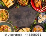 chinese food dark background.... | Shutterstock . vector #446808091