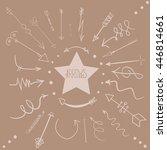 hand arrows on tye brown... | Shutterstock .eps vector #446814661