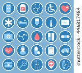 medical flat vector icons for... | Shutterstock .eps vector #446817484