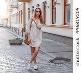 beautiful young fashion girl in ... | Shutterstock . vector #446819209