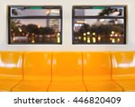 yellow seats in electric train... | Shutterstock . vector #446820409