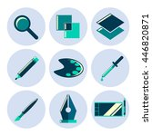 design tools flat icons set