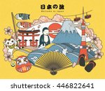 japan tourism poster design... | Shutterstock .eps vector #446822641