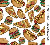 cute pizza slice  burger and... | Shutterstock .eps vector #446825671