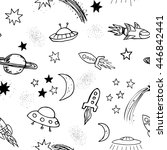 hand drawn doodle spaceships... | Shutterstock .eps vector #446842441