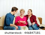 happy family   couple with old... | Shutterstock . vector #446847181