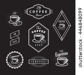 set coffee labels vintage logos ... | Shutterstock .eps vector #446848099