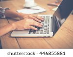 close up woman hands typing on...   Shutterstock . vector #446855881