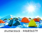expedition camping in tent on... | Shutterstock . vector #446856379
