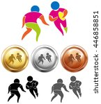 rugby icon and sport medals... | Shutterstock .eps vector #446858851
