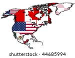 some very old grunge map of NAFTA - stock photo