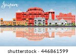 jaipur skyline with color... | Shutterstock .eps vector #446861599