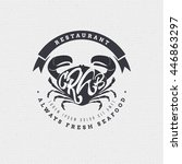 seafood   poster  stamp  badge  ... | Shutterstock . vector #446863297