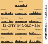 Set Of 13 City Silhouette In...